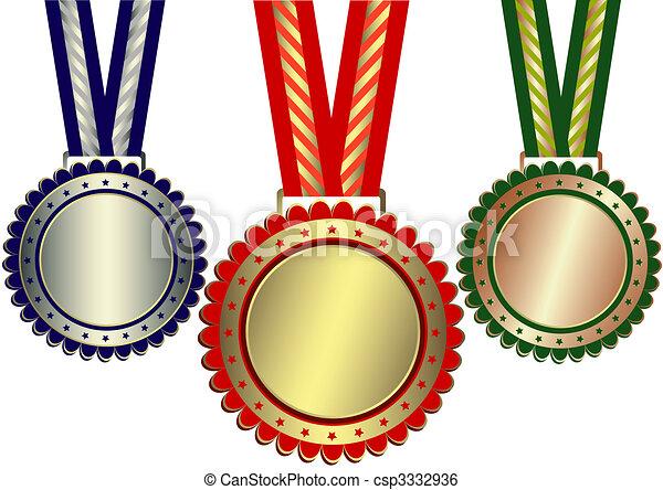 Gold, Silver And Bronze Awards (vector) - csp3332936