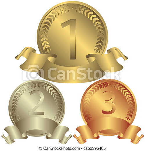 Gold, silver and bronze medals (vector) - csp2395405