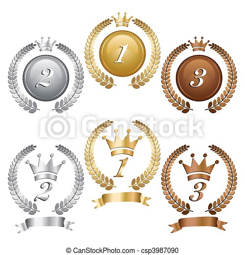 Gold silver and bronze medals - csp3987090