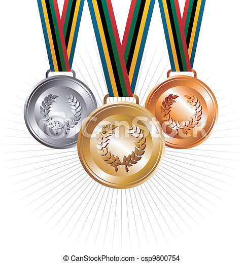 Gold, silver and bronze medals with ribbons background - csp9800754