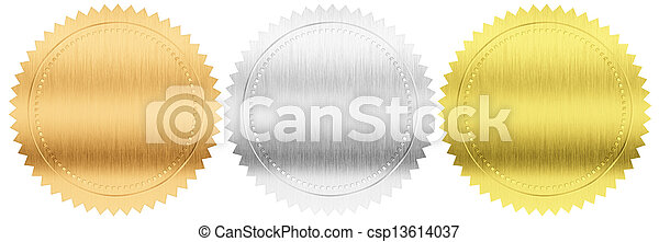 gold, silver and bronze seals or medals set isolated included - csp13614037
