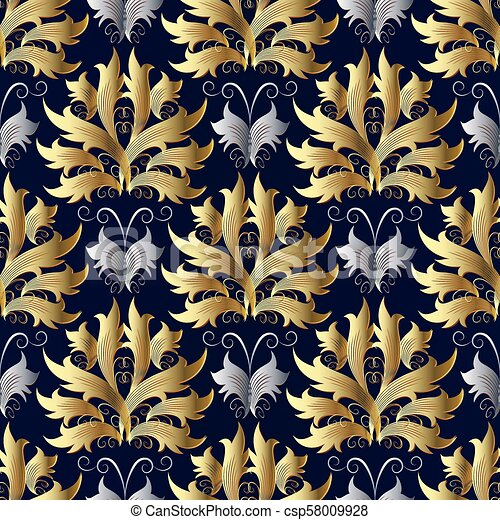 Gold Silver Baroque Vector Seamless Pattern Damask Blue Backgro