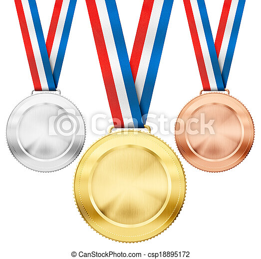 gold, silver, bronze realistic sport medals with tricolor ribbon set isolated on white - csp18895172