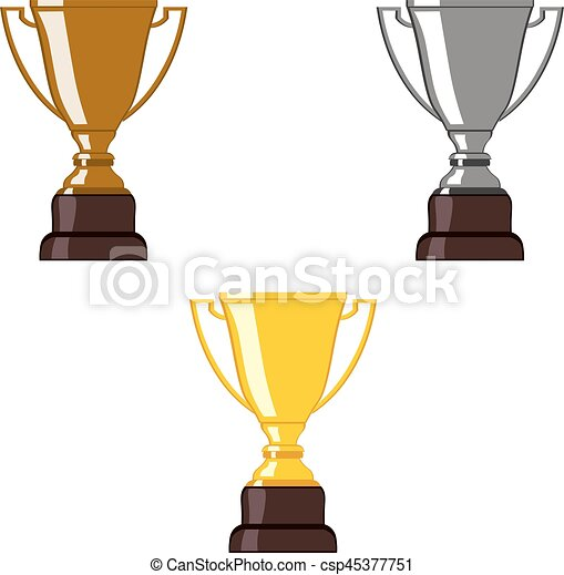 Gold Silver Bronze Trophy Cup