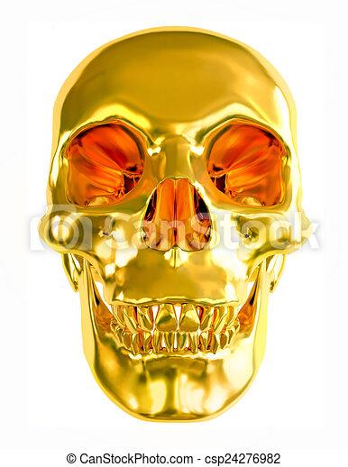Gold skull isolated on white background. - csp24276982