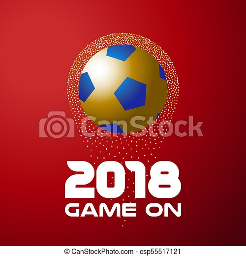 Gold soccer ball on red background with 2018 quote - csp55517121