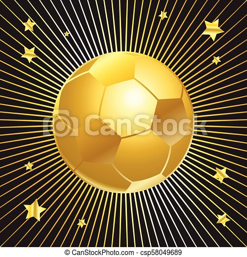 gold soccer cup ball on black background - csp58049689