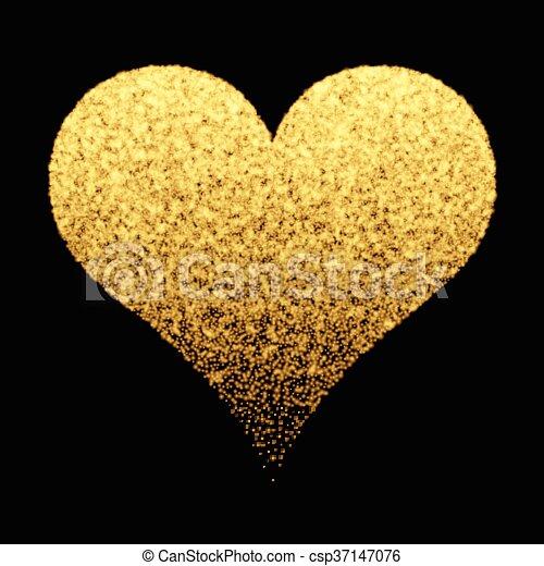 Gold sparkle heart background - csp37147076