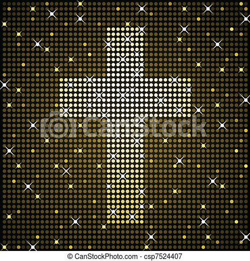 Gold sparkly cross - csp7524407