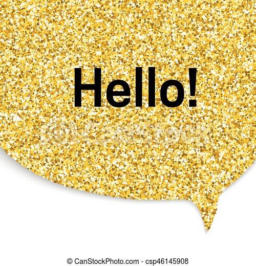 gold speech bubble speech bubble with hello word gold glitter texture