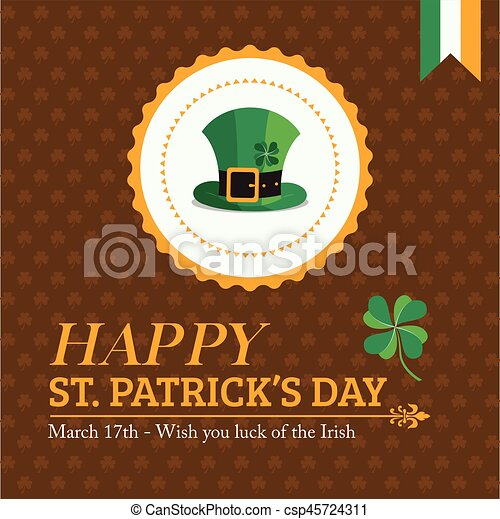 Gold St. Patrick's Day Banner and Greeting Card - csp45724311