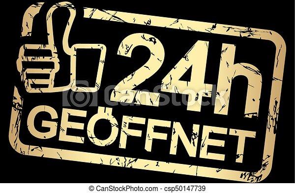 gold stamp with text 24h geöffnet - csp50147739