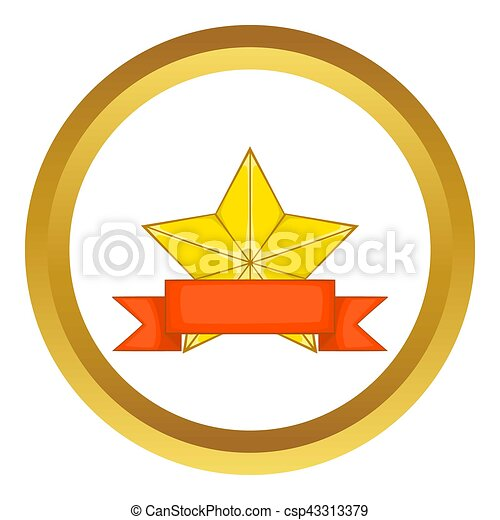 gold star award with ribbon icon gold star award with red stock rh canstockphoto com