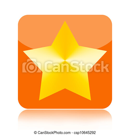 Gold Star Icon Gold Star Orange Glossy Icon Isolated On White