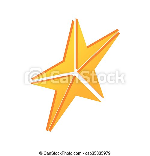 Gold Star Icon Isometric 3d Style Gold Star Icon In Isometric 3d