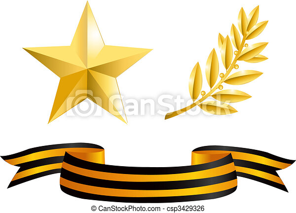 Gold star, laurel branch and George Ribbon - csp3429326