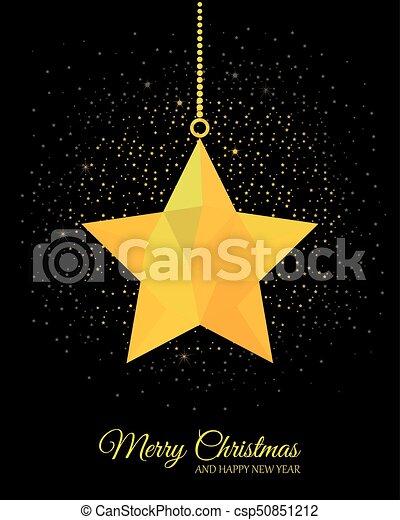 Gold Star On Black Background