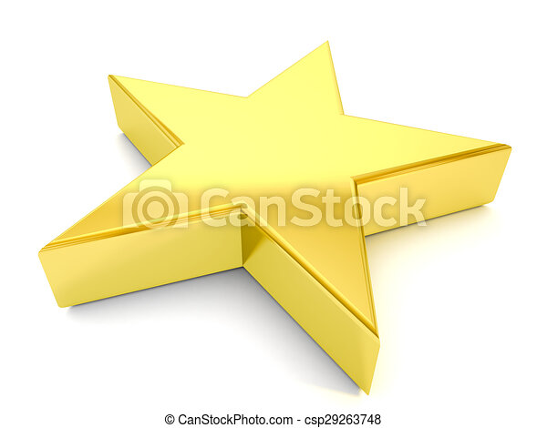 Gold Star Symbol On A White Background
