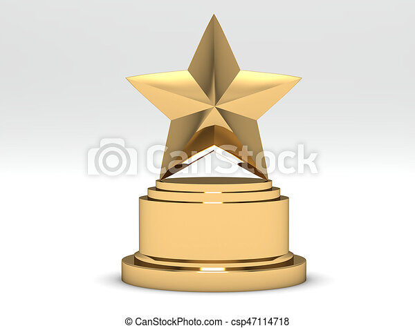 Gold Star Trophy Award Isolated On White 3d Rendering Clipart