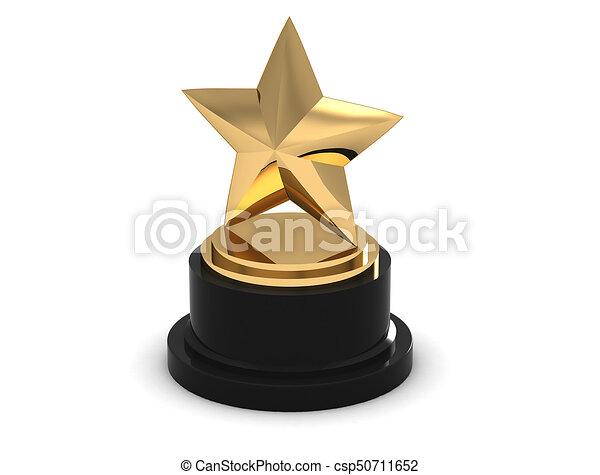 Gold Star Trophy Award On White 3d Rendering