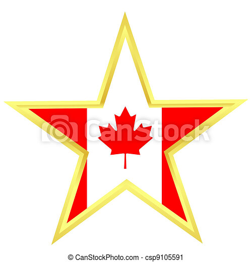 Gold star with a flag of Canada - csp9105591