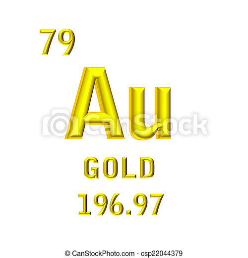 The Chemical Symbol Of Gold Isolated On The White Background