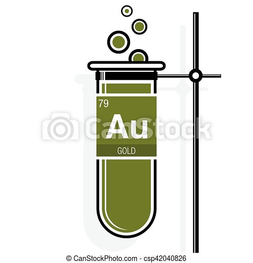 Gold symbol on label in a green test tube with holder vector gold symbol on label in a green test tube with holder element number 79 of urtaz Gallery