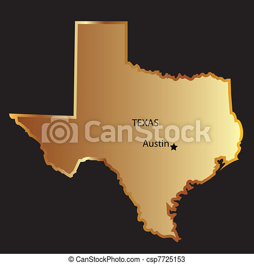 Gold texas state map. Gold texas state map.