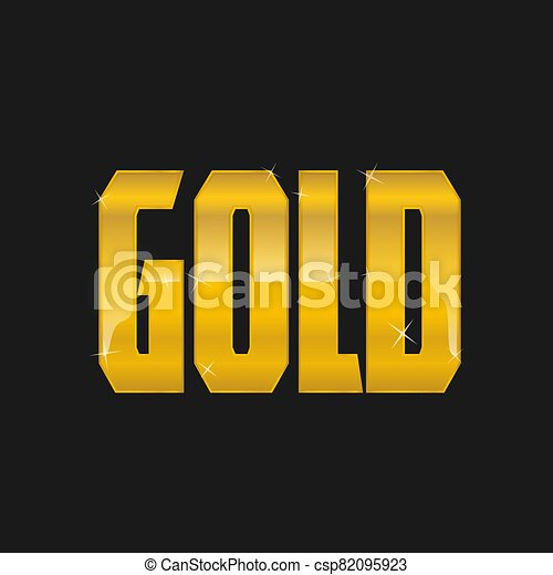 GOLD text logo on a black background golden shiny icon isolated vector illustration - csp82095923
