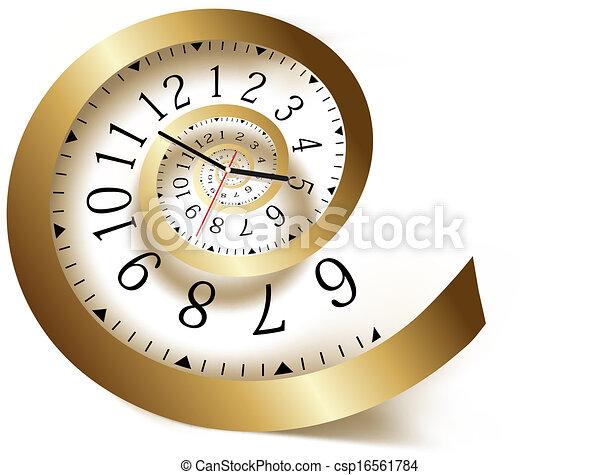 Gold time spiral. Vector illustration. - csp16561784