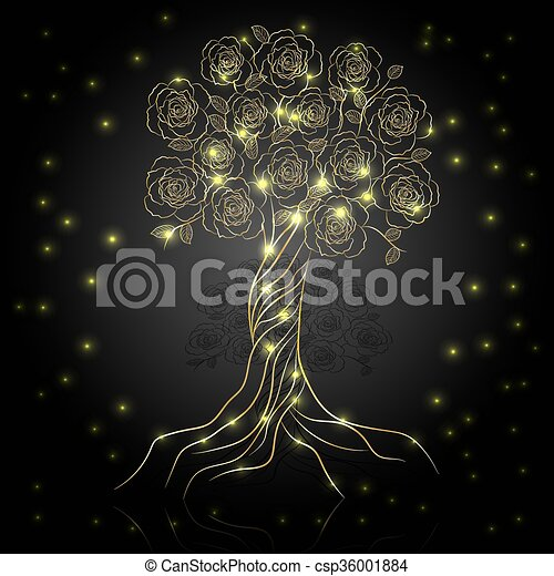 Gold tree with flowers - csp36001884