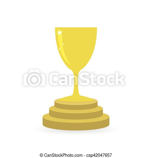 gold trophy cup icon vector illustration gold trophy cup in flat