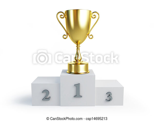 gold trophy cup winners pedestal on a white background  - csp14695213