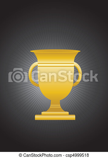 Gold Trophy On Black Background