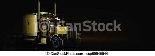Gold truck in black background. 3d rendering - csp69945944