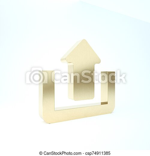 Gold Upload icon isolated on white background. Up arrow. 3d illustration 3D render - csp74911385