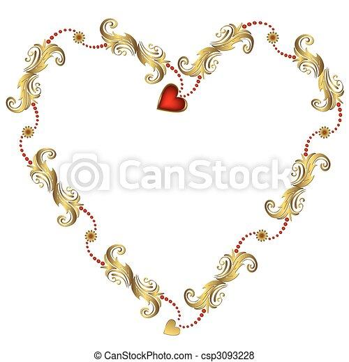 44f036930717 Gold valentine`s floral frame (vector) Gold valentine`s floral frame ...