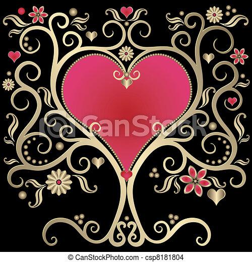 Gold valentines frame - csp8181804