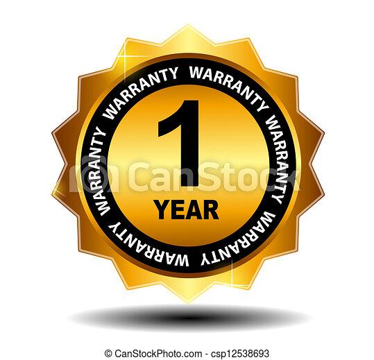 Gold vector guarantee sign, warranty label - csp12538693