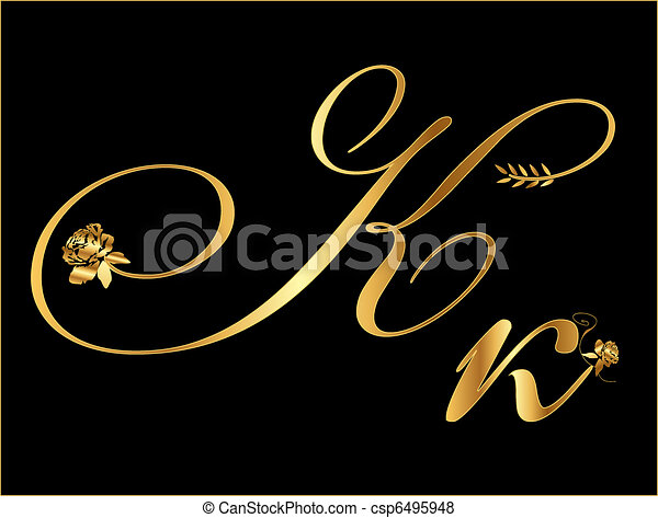 Gold vector letter k with roses vector search clip art gold vector letter k thecheapjerseys Choice Image