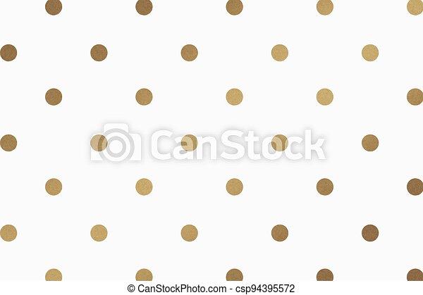 Gold vector polka dot glittery pattern background - csp94395572