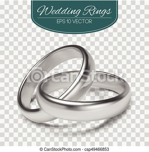 Gold vector wedding rings isolated on trasparent background