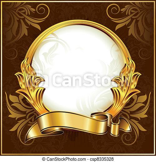 Gold vintage circle frame - csp8335328