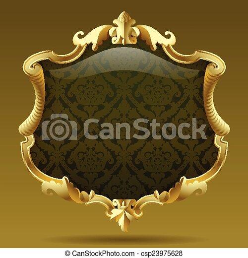 Gold Vintage Frame With Olive Baroque Ornament