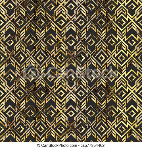 Gold vintage geometric seamless pattern. - csp77354462