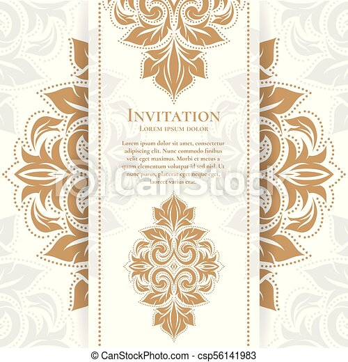 Gold vintage greeting card on a white background luxury ornament template great for invitation flyer menu brochure postcard background gold vintage greeting card on a white background luxury ornament template great for invitation m4hsunfo