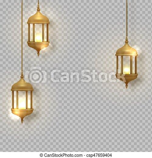 Gold Vintage Luminous Lanterns Arabic Shining Lamps Isolated