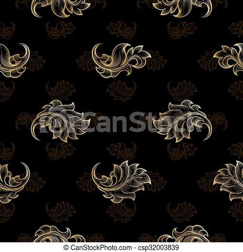 Gold vintage seamless floral pattern - csp32003839