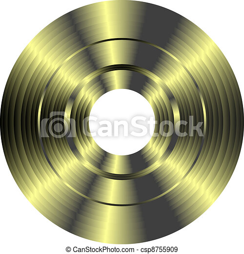 gold vinyl record isolated on white background - csp8755909