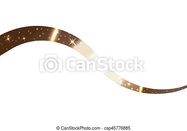 Line Art Ribbon : Gold wave ribbon. golden abstract wavy line isolated on vector